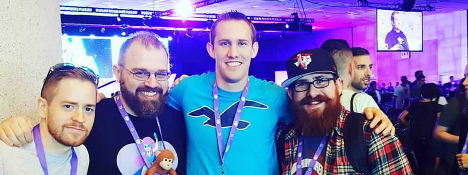 A picture of Blade at Twitchcon with some friends he met there