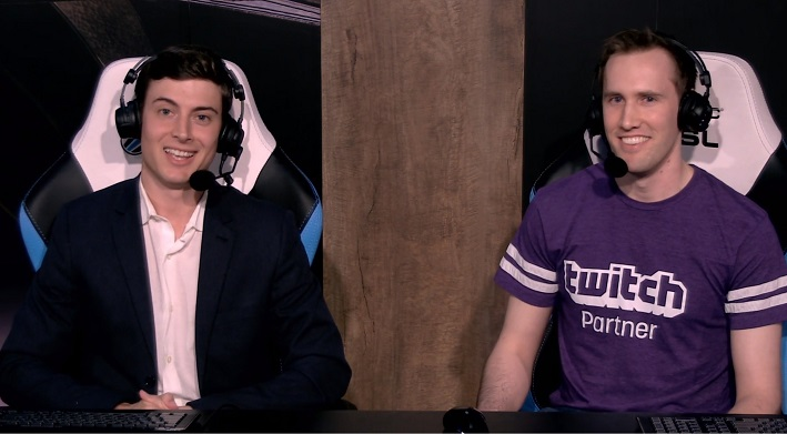 A picture of Blade as a guest commentator and analyst with Good Vibes Guy at the 2018 TwitchCon Black Desert Tournament